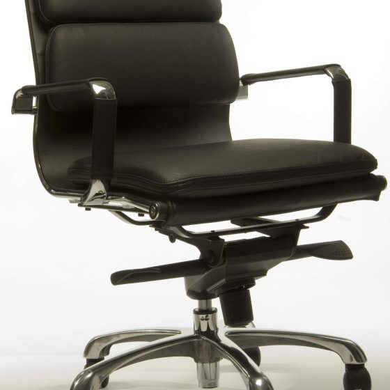 T Luxa | medium back ergonomic executive chair with arms soft pad seat aluminium base