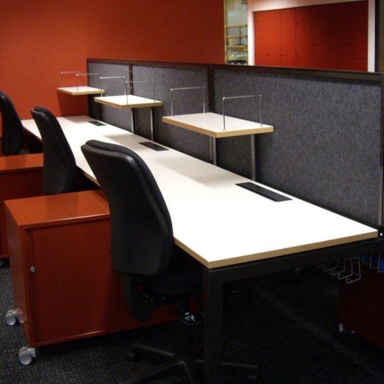 Workstation fitout: Monash Student Work space with ero Fixed height workstations with screens and mobile caddies