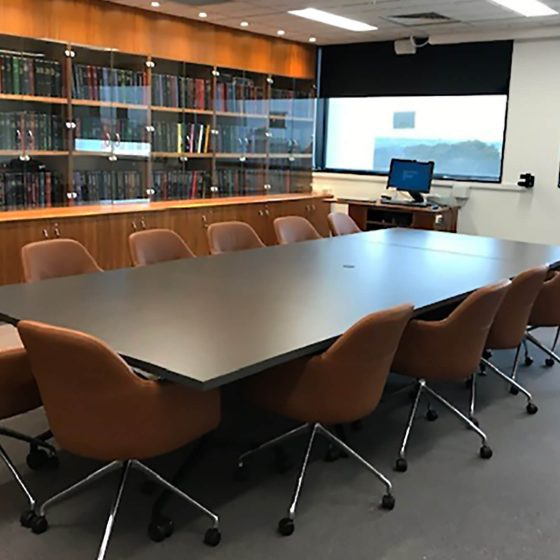 Board Room Fitout: Monash Caulfield, Board Room Table Leather Struve Chairs2