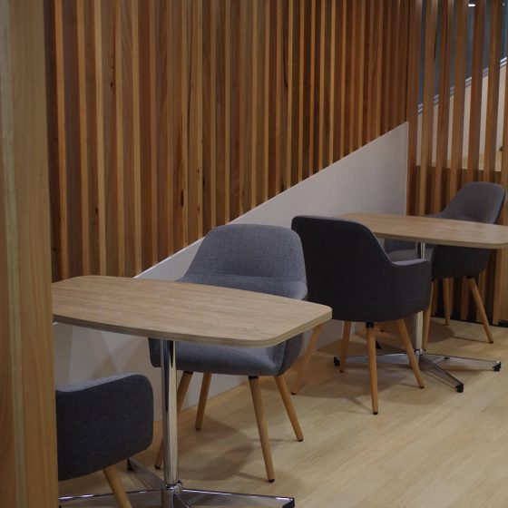 Breakout areas with Struve Chairs and boat shape meeting tables