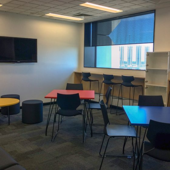 Breakout space with Fly Chairs,barstools, Tables, Dot ottomans and custom joinery