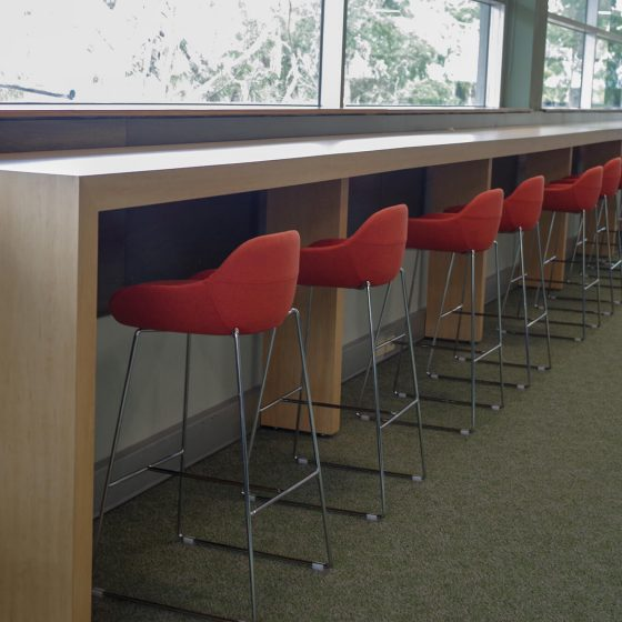 Custom joinery student workbench library uphostered Vegas stools (1)