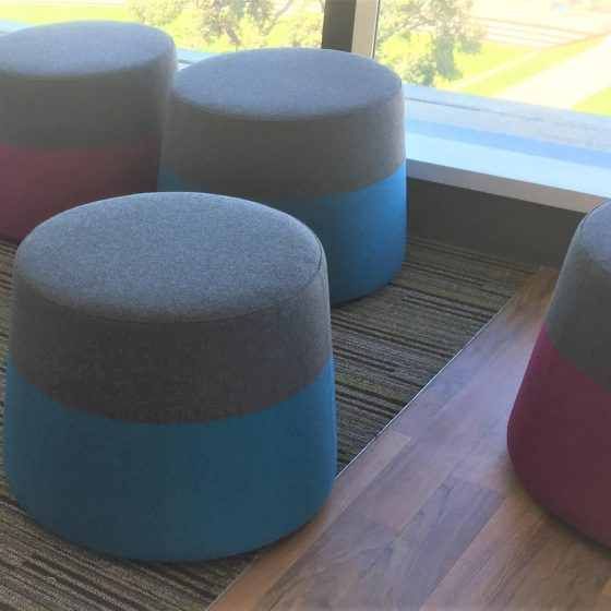 Custom ottomans commercial furniture education breakout furniture tapered