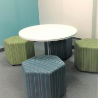 Custom ottomans used for student seating