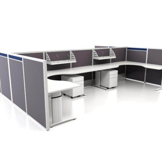 Workstations, Element C Leg workstations with full height screens
