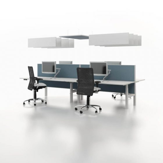 Essential height adjustable desks with overhead - acoustic panels and screens