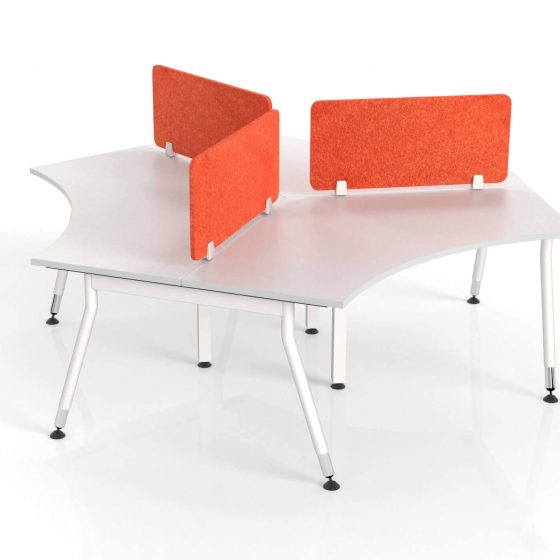 Hush Acoustic desk screen orange on Vee workstation