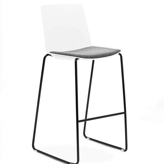 Jubel barstool White Seatpad sled base commercial furniture
