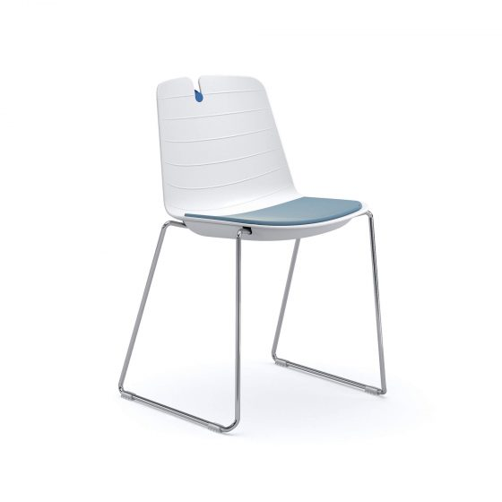 Mindy | plastic visitor chair meeting office chair chrome sled base seat pad