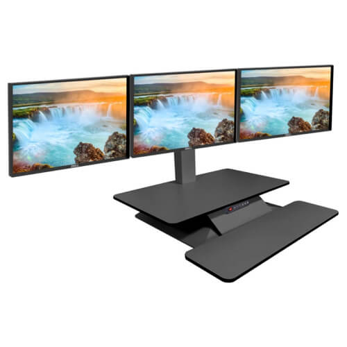 STANDESK height adjustable desk with three monitors