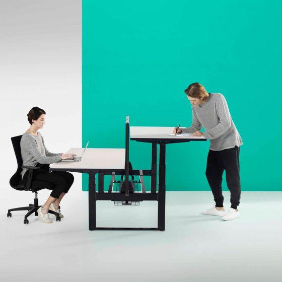 Thinking Works Elevation Workstation height adjustable desk back to back H Frame black