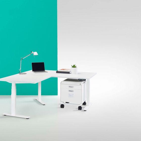 Thinking Works Elevation Workstation height adjustable desk corner return