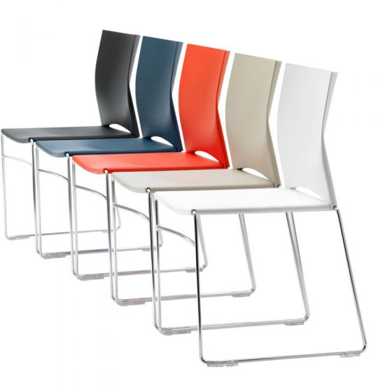 web | plastic visitor meeting chair office chair chrome sled base colour range