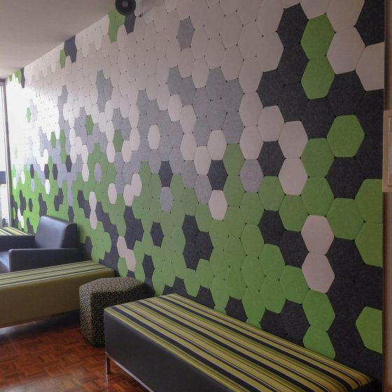 Acoustic wall tiles self-adhesive full wall