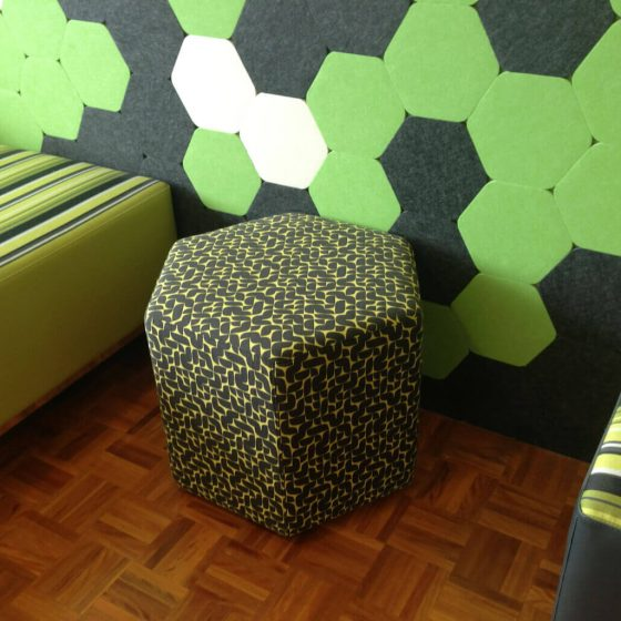 Acoustic wall tiles self-adhesive with custom ottomans