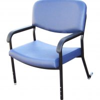 Bariatric chair with height adjustable legs and rear traveller wheels 600mm wide healthcare seating