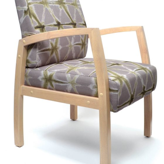 Commercial Furniture Products, Bella Chair healthcare aged care timber frame with arms Custom upholstery Medium back guest chair front angle