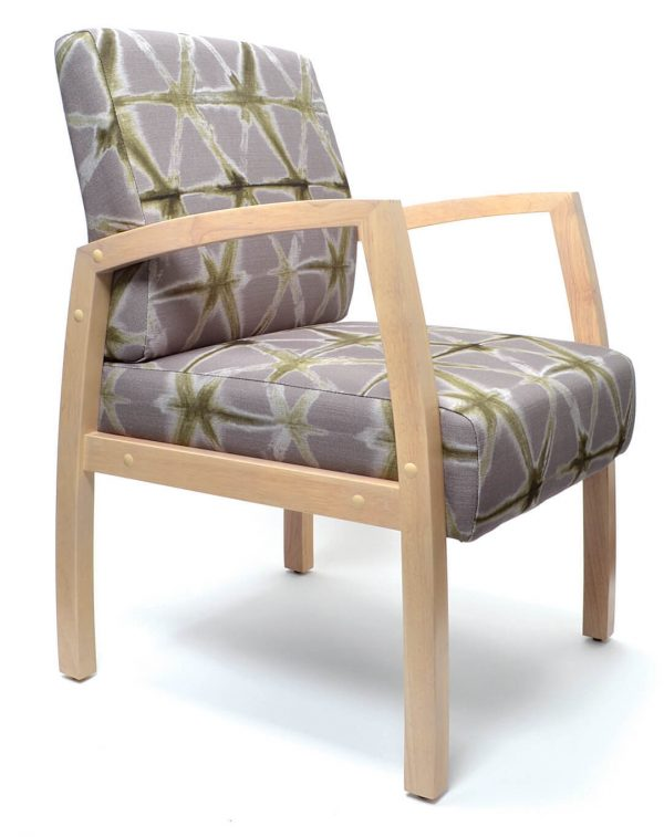 Bella Chair healthcare aged care timber frame with arms Custom upholstery Medium back guest chair front angle