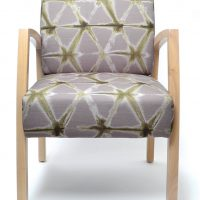 Bella Chair healthcare aged care timber frame with arms Custom upholstery Medium back guest chair front view