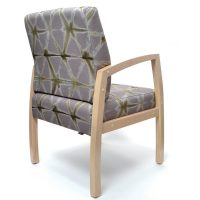 Bella Chair healthcare aged care timber frame-with arms Custom upholstery Medium back guest chair rear view