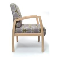 Bella Chair healthcare aged care timber frame with arms Custom upholstery Medium back guest chair side view