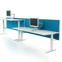 Desk mounted screen 400mm off floor with fabric Aluminium frame White