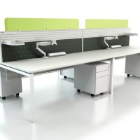 Desk mounted screens with accessory rail acrylic