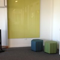 Whiteboards and Pinboards, Glass Whiteboard frameless yellow wall mounted