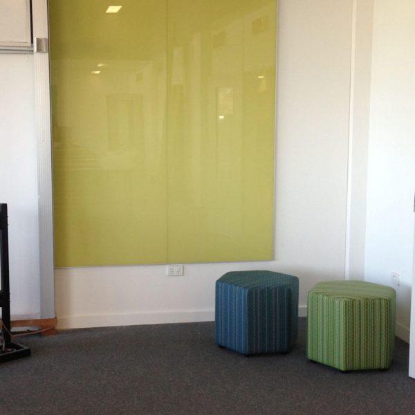 Glass Whiteboard frameless yellow wall mounted