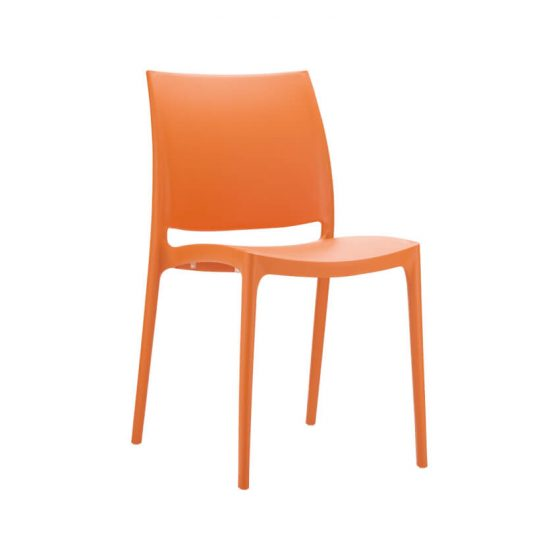 Commercial Furniture Products, Maya chair orange outdoor hospitality plastic