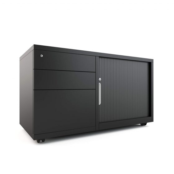 Workstations, Mobile Caddy BLACK workstation storage left