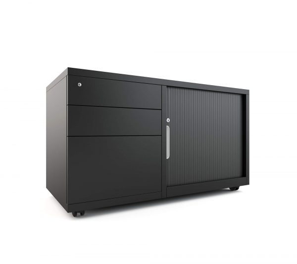 Mobile Caddy BLACK workstation storage left