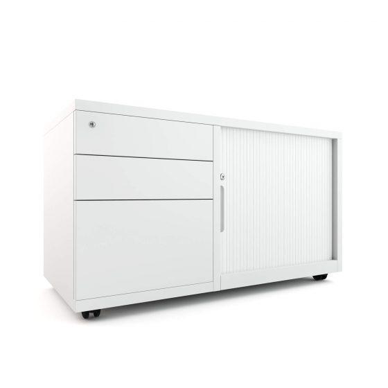 Mobile Caddy WHITE workstation storage left