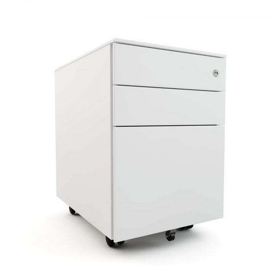 Mobile Pedestal White 3 drawer workstation accessories storage