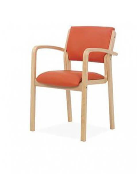 Zeta armchair beech timber frame with arms visitor chair aged care furniture