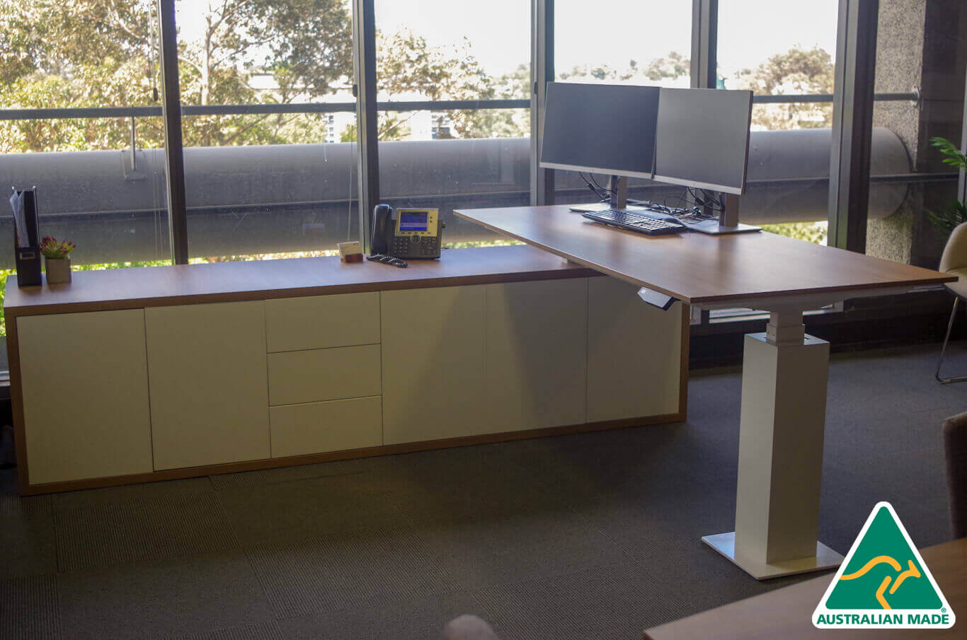 Custom made Height adjustable Executive Desk with credenza