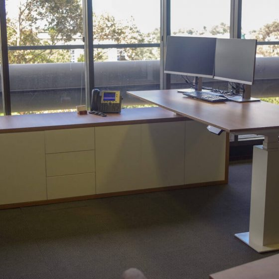 Commercial Furniture Products, Custom made Height adjustable Executive Desk with credenza