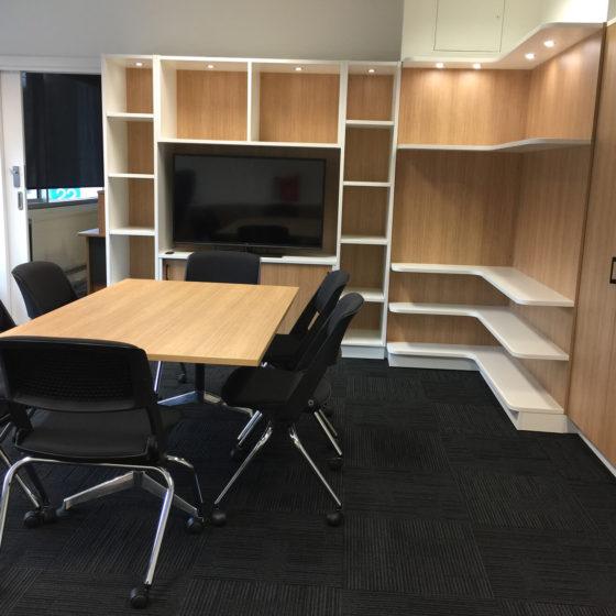 Custom-storage-open-shelving- timber look laminate