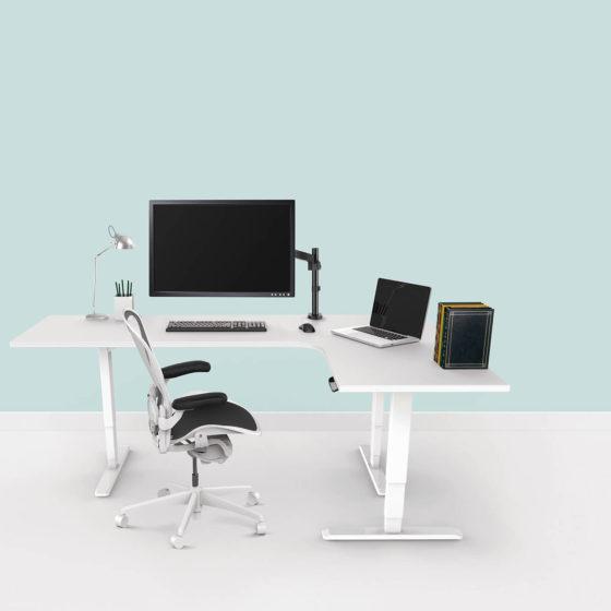 Ergovida 233R electric height adjustable return workstation white