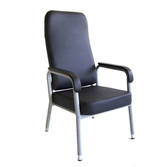 Hotham chair height adjustable legs with arms powdercoated silver frame healthcare aged care
