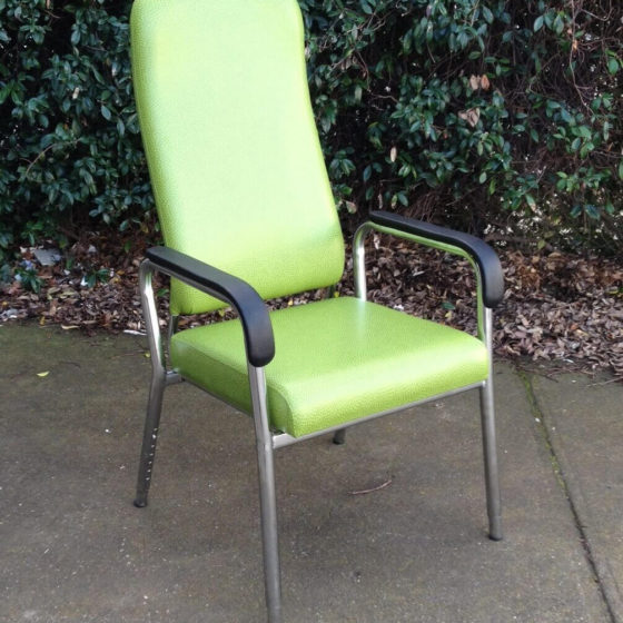 Hotham healthcare aged care chair high back height adjustable legs with arms green and chrome frame