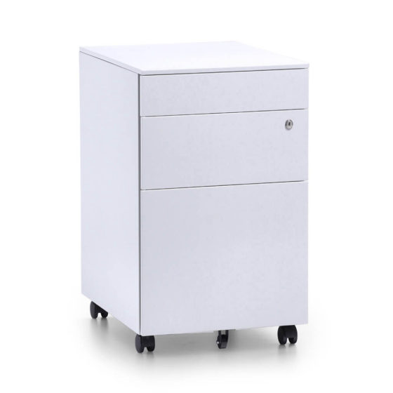 Itsu slimline white mobile pedestal storage workstation