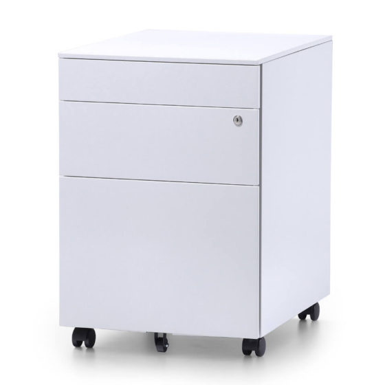 Itsu white mobile pedestal storage workstation