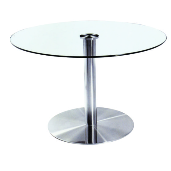 Linnea table with glass top and chome base disc base