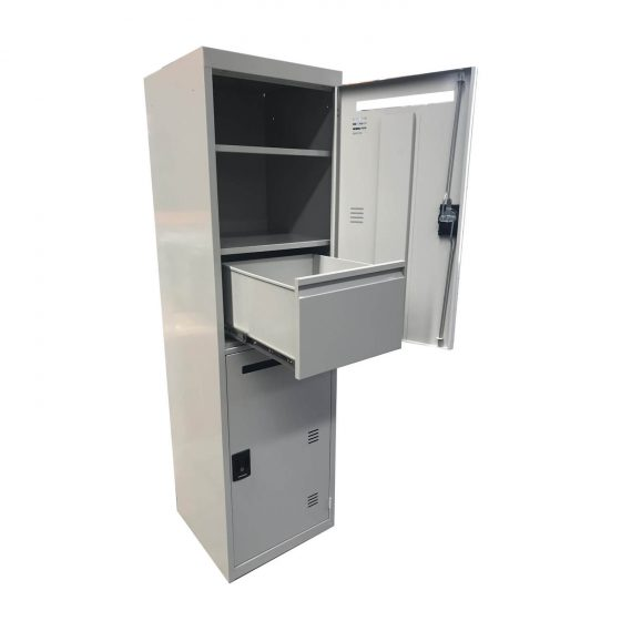 Commercial Furniture Products, Police and Services lockers steel door open with drawer open grey
