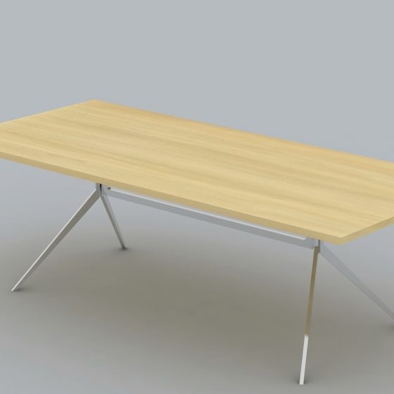 Poppy Meeting Table with rectangular oak table top and chrome legs