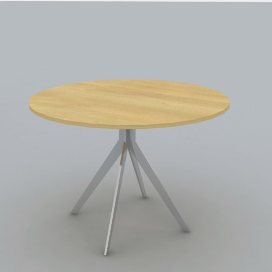 Poppy meeting table with round oak top and chrome legs