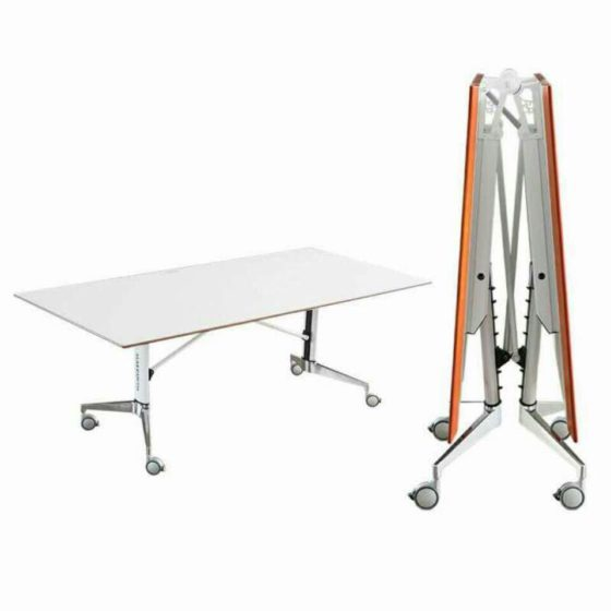 Splitz centre folding table, one on the right is flat out and the one on the left is folded up