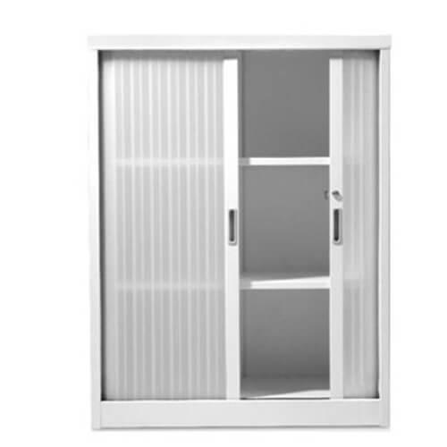 Tambour storage units translucent doors office storage