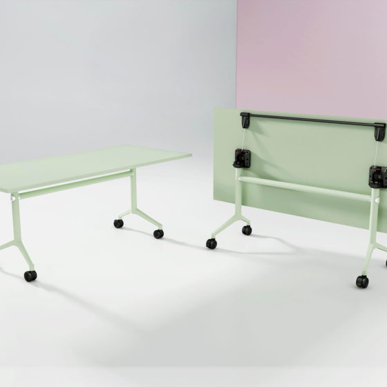 UR Folding Table on castors green